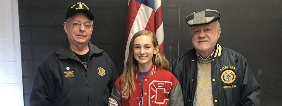 Congrats to Zoe Simmons for earning High Honors Scholarship from American Legion Post #193
