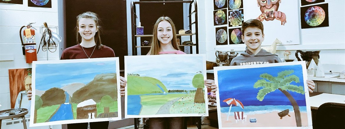 Incredible job 7th grade on your landscape paintings.